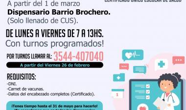 VILLA DOLORES : LOS TURNOS PARA LOS CERTIFICADOS MÉDICOS ESCOLARES SE OTORGARÁN EXCLUSIVAMENTE POR TELÉFONO.
