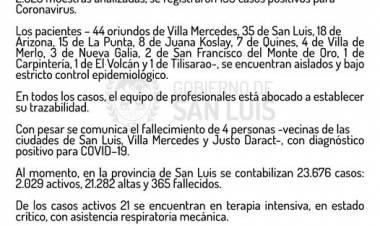 SAN LUIS : PARTE OFICIAL DEL VIERNES 26 DE FEBRERO,SOBRE LA SITUACIÓN COVID-19.