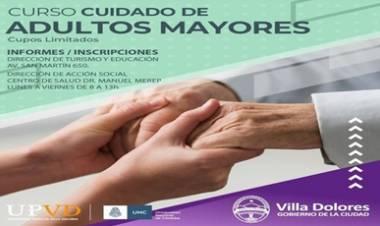 VILLA DOLORES : CURSO DE CUIDADOS DE ADULTOS MAYORES.