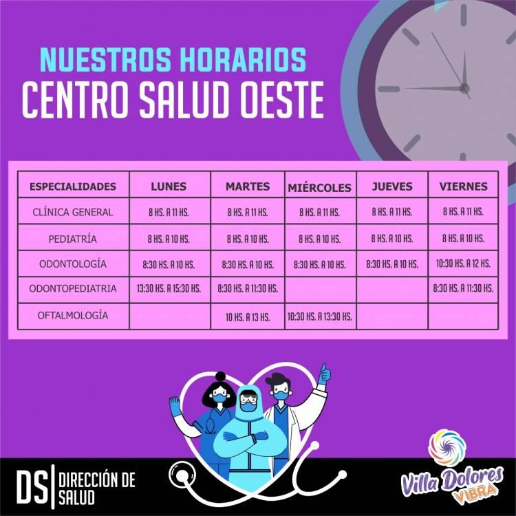 VILLA DOLORES, CÓRDOBA : HORARIOS DE ATENCIÓN DEL CENTRO DE SALUD OESTE .
