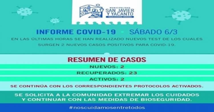 SAN JAVIER Y YACANTO : DOS NUEVOS CASOS POSITIVOS DE COVID-19,EN LA JORNADA DEL SÁBADO 06 DE MARZO.